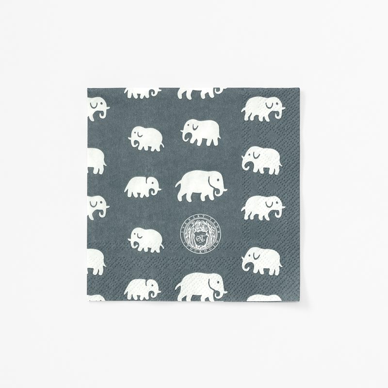 Papernapkins Elefant - 12,5x12,5 cm, Paper, Elefant, Grey | Svenskt Tenn