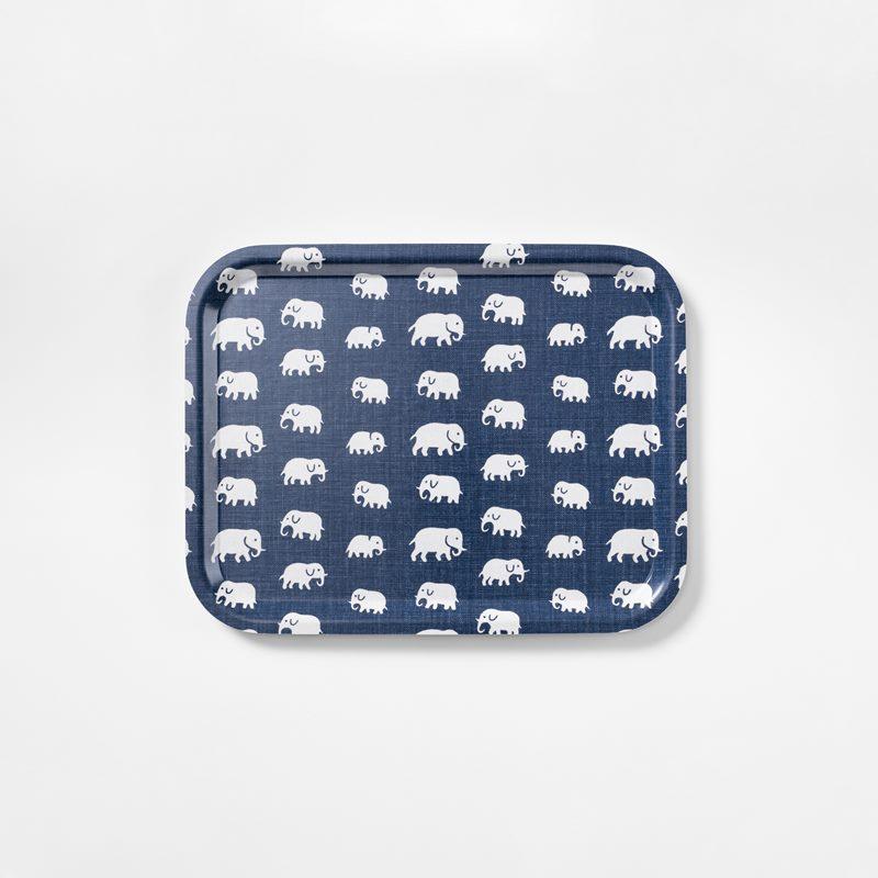 Tray Elefant - 36x28 cm, Elefant, Rectangle, Storm Blue | Svenskt Tenn