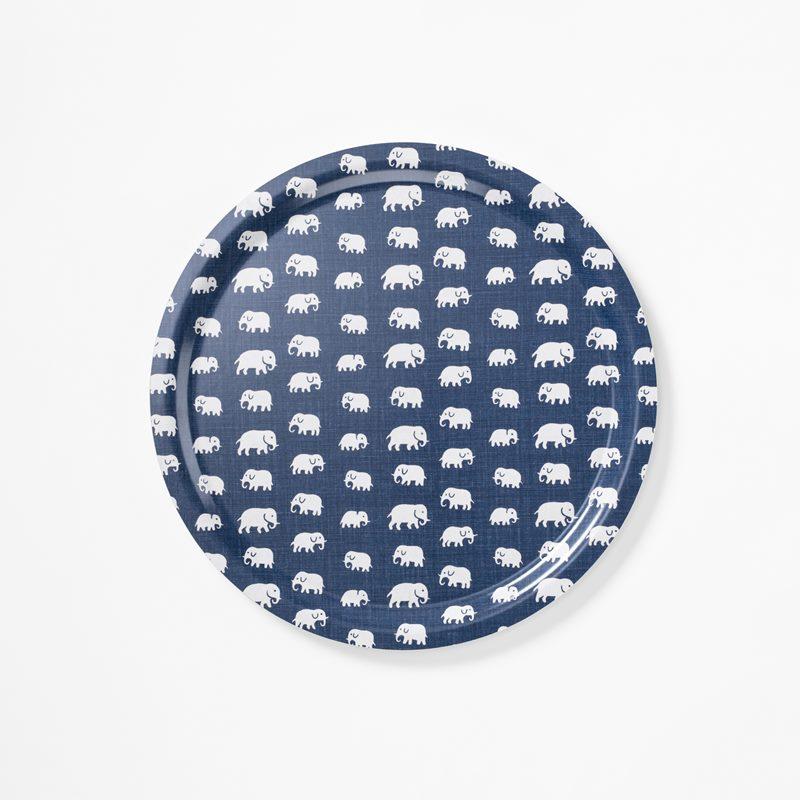 Tray Elefant - 49 cm, Elefant, Round, Storm Blue | Svenskt Tenn
