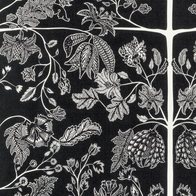 Textil Chintz - Lin, Svart | Svenskt Tenn