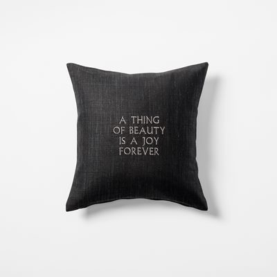 Cushion  A Thing Of Beauty is a Joy Forever - 40x40 cm, Linen, Black, Svenskt Tenn | Svenskt Tenn