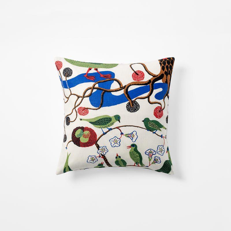 Cushion Gröna Fåglar - 40x40 cm, Linen, Gröna Fåglar | Svenskt Tenn