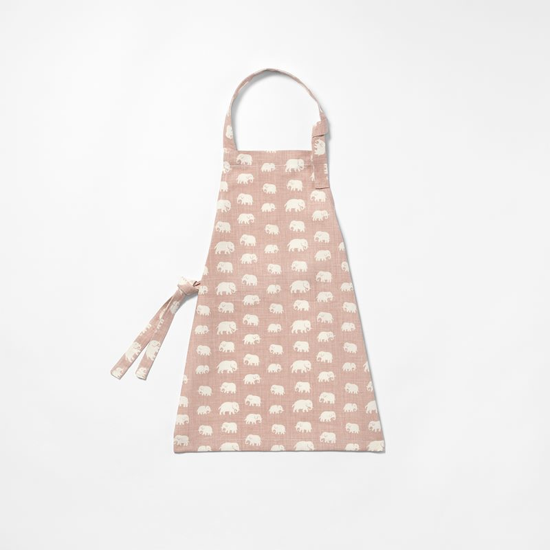 Apron Elefant Child Size - Linen, Elefant, Light Pink | Svenskt Tenn