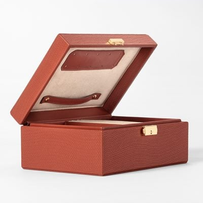 Jewelry Box Embossed Leather - Skin, Cognac, Svenskt Tenn | Svenskt Tenn