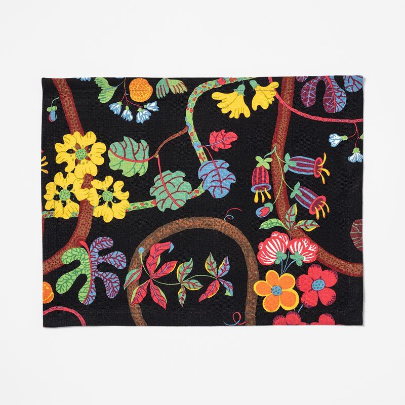 Placemat Textile Baranquilla - 35x45 cm, Linen, Baranquilla, Black | Svenskt Tenn