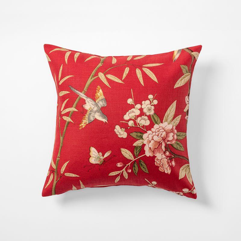 Cushion Peony & Blossom - 50x50 cm, Linen, Peony & Blossom, Red | Svenskt Tenn