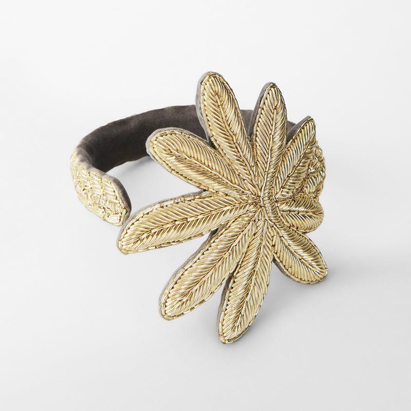 Bracelet Fig Leaf - 23,5 cm, Silk & Metal thread | Svenskt Tenn