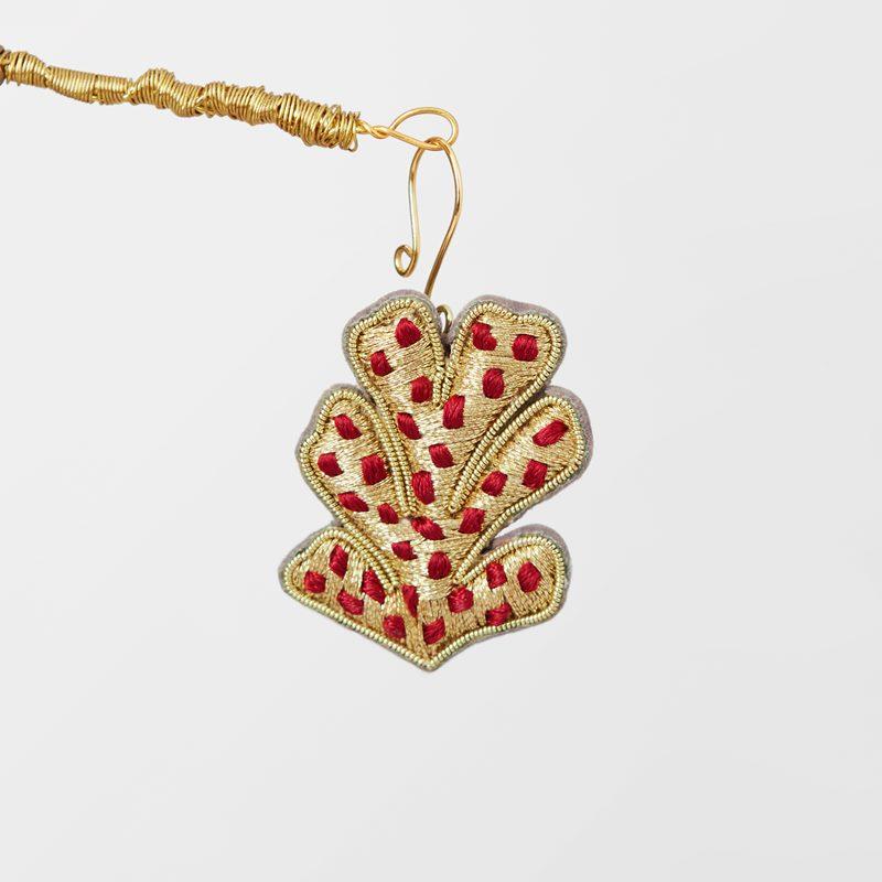 Decoration Wish Cone Embroidered - Silk, Red | Svenskt Tenn