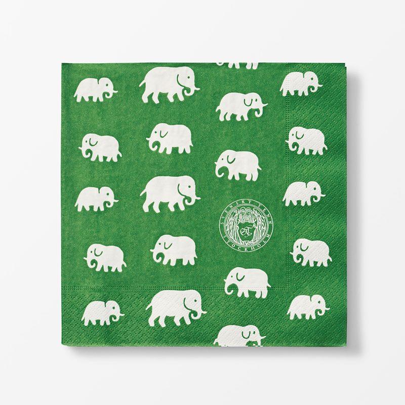 Servetter Elefant - 20x20 cm, Papper, Elefant, Grön | Svenskt Tenn