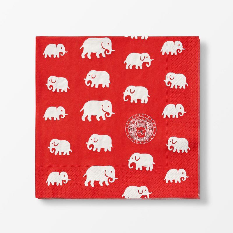 Papernapkins Elefant - 20x20 cm, Paper, Elefant, Red | Svenskt Tenn