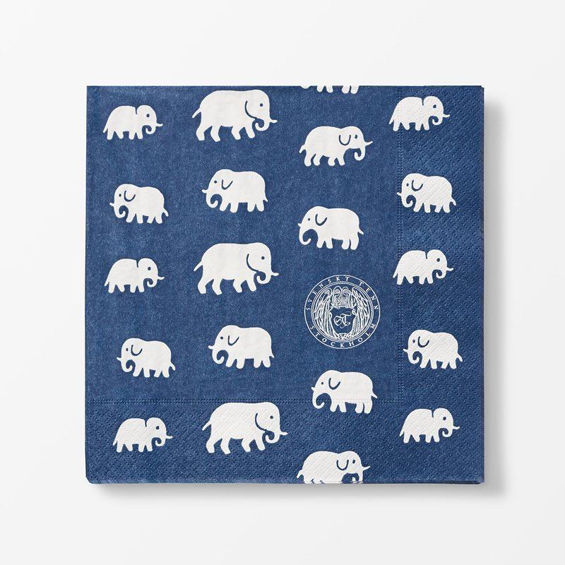 Papernapkins Elefant - 20x20 cm, Paper, Elefant, Storm Blue | Svenskt Tenn