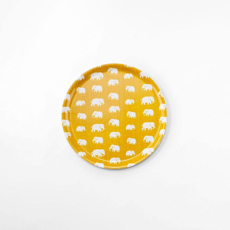 Tray Elefant - 31 cm, Elefant, Round, Yellow | Svenskt Tenn