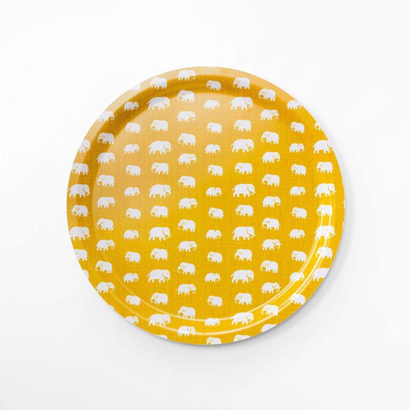Tray Elefant - 49 cm, Elefant, Round, Yellow | Svenskt Tenn