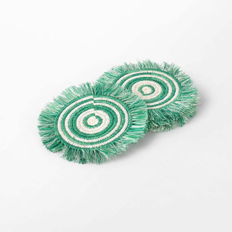 Coaster Fans - 14,5 cm, Straw, Green | Svenskt Tenn