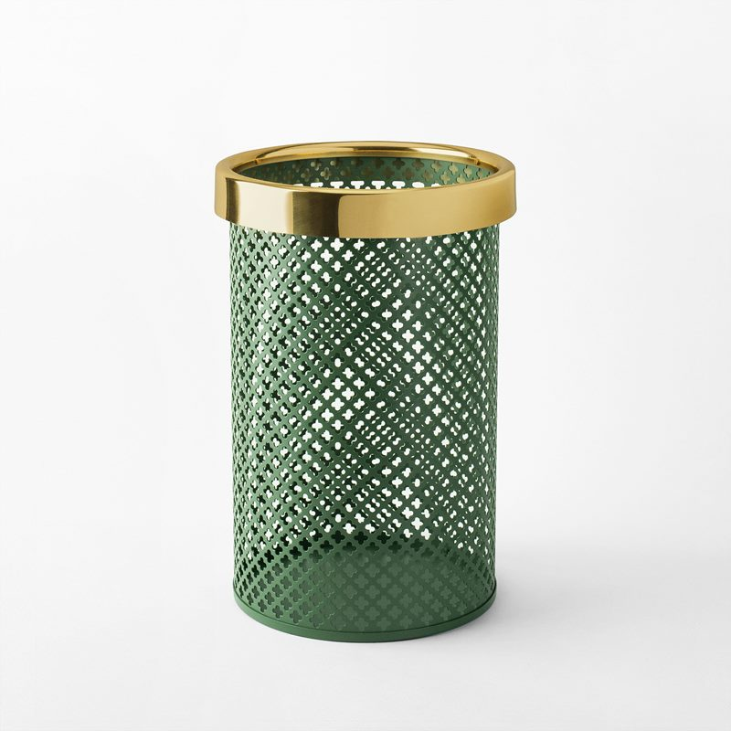 Wastebin/Umbrella Stand Metal - Small, Steel Brass, Green | Svenskt Tenn