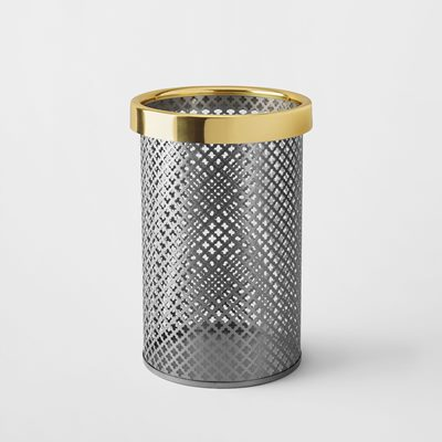 Wastebin/Umbrella Stand Metal - Small, Steel & Brass, Brushed Steel, Josef Frank | Svenskt Tenn