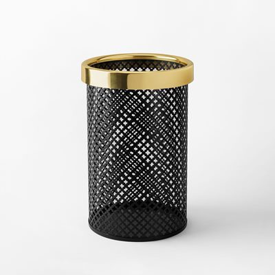 Wastebin/Umbrella Stand Metal - Small, Steel Brass, Black, Josef Frank | Svenskt Tenn