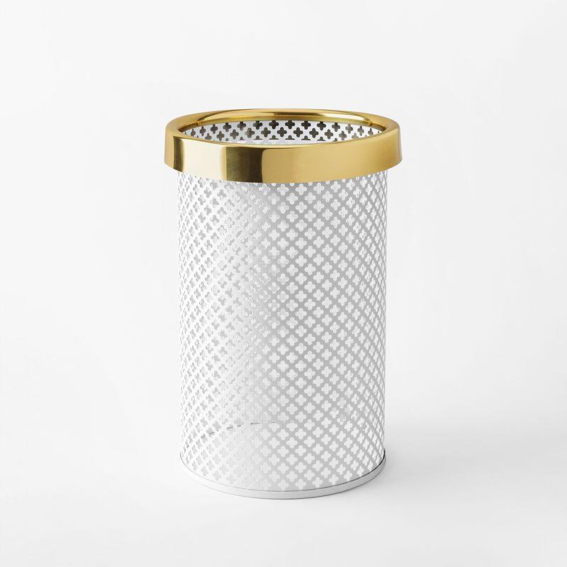 Papperskorg Metall - Liten, Stål Mässing, Vit | Svenskt Tenn