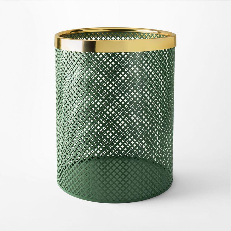 Papperskorg Metall - Stor, Stål Mässing, Grön | Svenskt Tenn