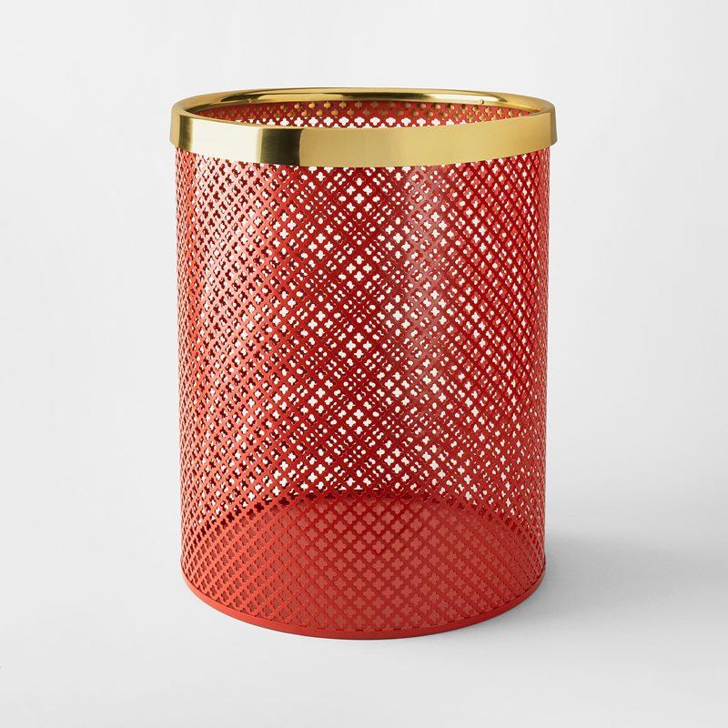 Wastebin/Umbrella Stand Metal - Large, Steel Brass, Red | Svenskt Tenn