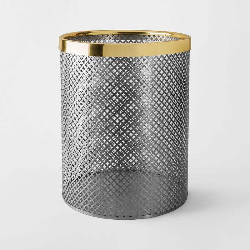 Papperskorg Metall - Stor, Stål Mässing, Borstad | Svenskt Tenn