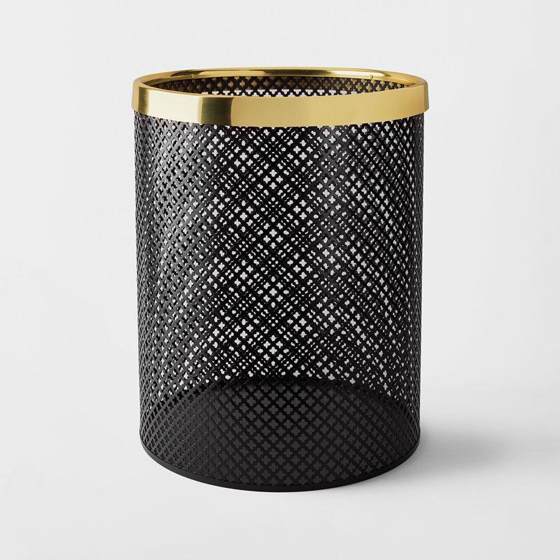 Papperskorg Metall - Stor, Stål Mässing, Svart | Svenskt Tenn