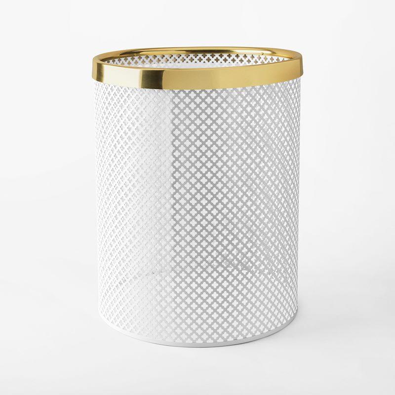 Papperskorg Metall - Stor, Stål Mässing, Vit | Svenskt Tenn