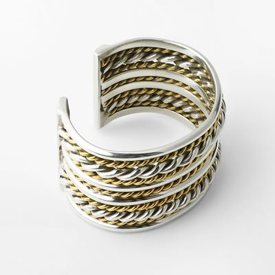 Bracelet Braid Large - Pewter & Brass, Estrid Ericson | Svenskt Tenn