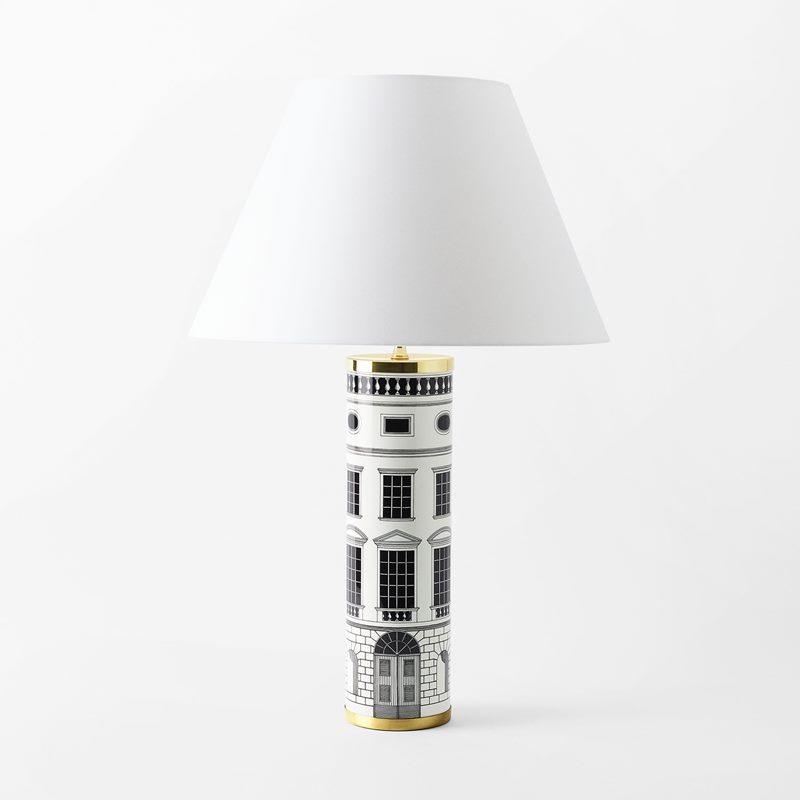 Lamp Base Fornasetti - 35x10 cm, Porcelain, Architettura, Black White | Svenskt Tenn