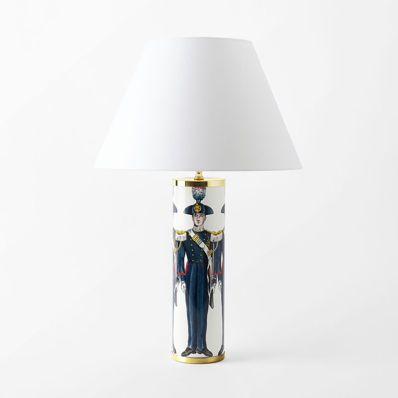 Lamp Base Fornasetti - 35x10 cm, Porcelain, Carabinieri  Soldat, Multi | Svenskt Tenn
