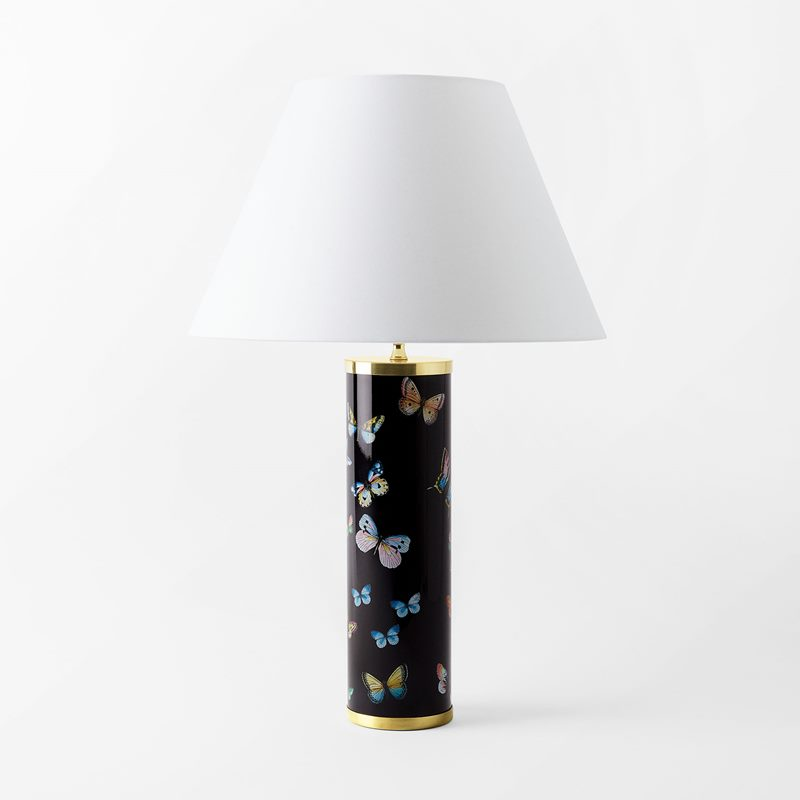 Lamp Base Fornasetti - 35x10 cm, Porcelain, Farfalle, Black | Svenskt Tenn