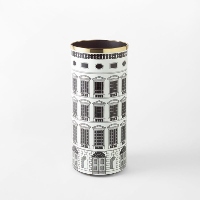 Umbrella Stand Fornasetti - 57x26 cm, Aluminium & Brass, Black White | Svenskt Tenn