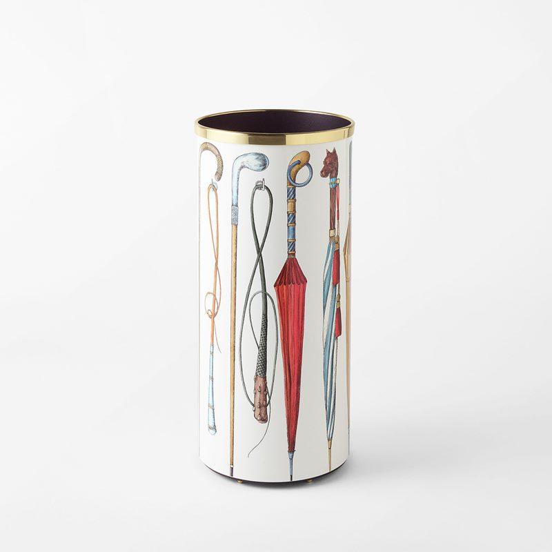 Umbrella Stand Fornasetti - 57x26 cm, Aluminium/Brass, White | Svenskt Tenn