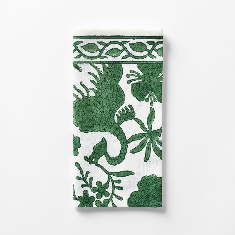 Napkin Dragon Bird - 50x50 cm, Cotton, Green | Svenskt Tenn