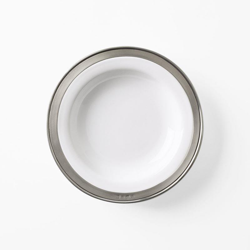 Soup Plate with rim - 24 cm, Pewter, White | Svenskt Tenn