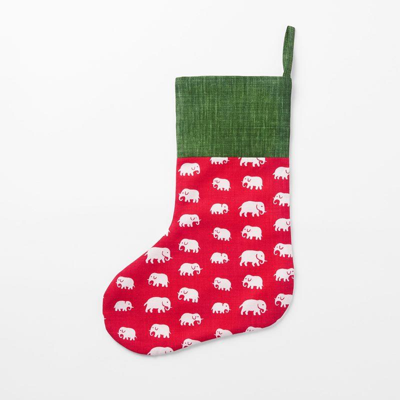 Christmas Stocking Svenskt Tenn - 41x29 cm, Linen, Elefant, Red | Svenskt Tenn