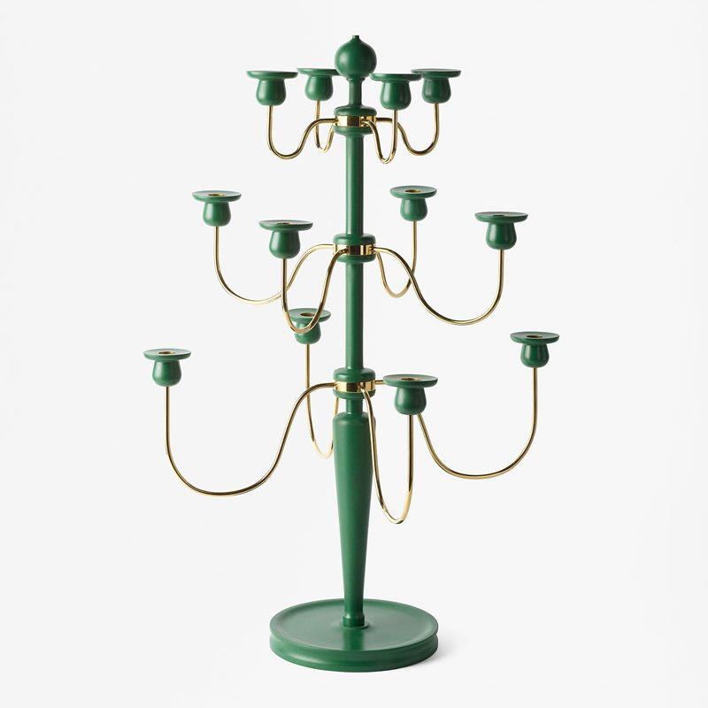 Candelabra 2586 - Wood Brass, Green | Svenskt Tenn
