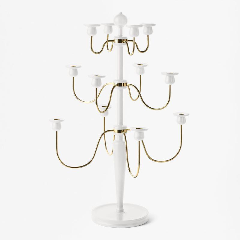 Candelabra 2586 - Wood & Brass, White | Svenskt Tenn