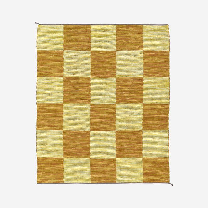 Carpet Dubbelbindning Schackruta - 200x240 cm, Cotton Linen, Yellow Yellow | Svenskt Tenn