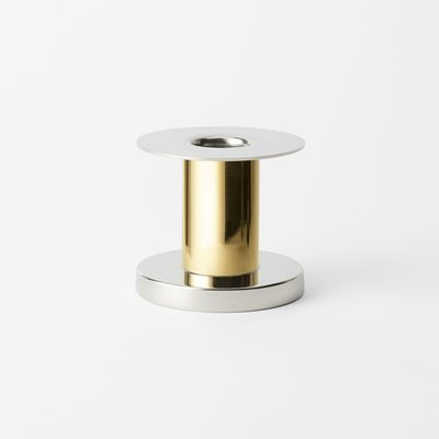 Candle Holder 1277 - 6x7 cm, Pewter & Brass, Nils Fougstedt | Svenskt Tenn