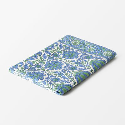 Table Cloth Indian Rose - 150x250 cm, Cotton, Blue Green, Svenskt Tenn | Svenskt Tenn