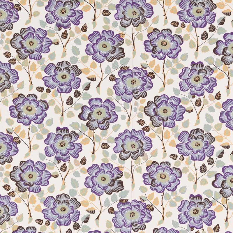 Wallpaper Sample Krysantemer - Paper, Krysantemer, Lilac | Svenskt Tenn