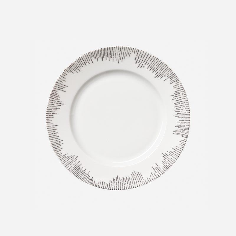 Side Plate Streck Grey - 20 cm, Porcelain, Grey | Svenskt Tenn