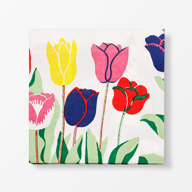 Papernapkins Tulpaner - 20x20 cm, Paper, Tulpaner, White | Svenskt Tenn