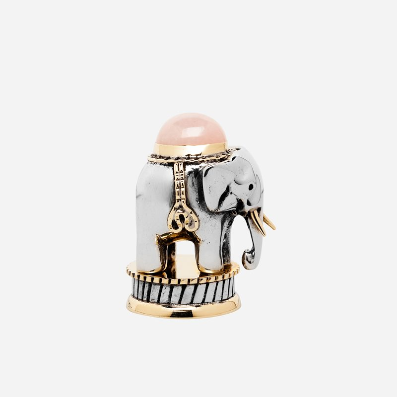 Seal Elephant with Stone - Pewter, Rose Quartz | Svenskt Tenn