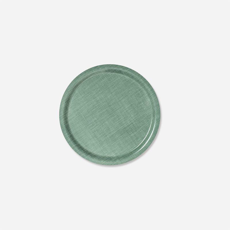 Tray Svenskt Tenn Linen - 31 cm, Round, Aqua | Svenskt Tenn