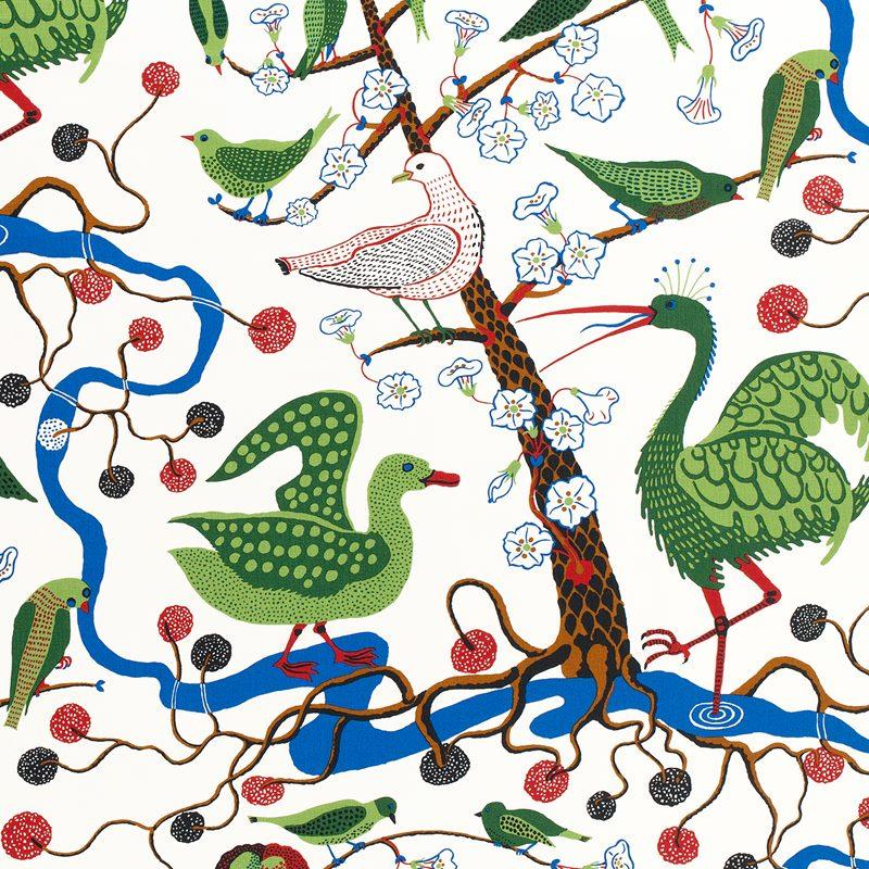 Textile Gröna Fåglar