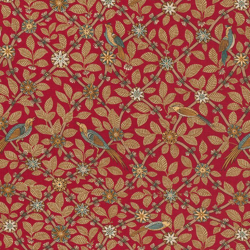 Textil Bamboo Bird - Lin, Bamboo Bird, Röd | Svenskt Tenn