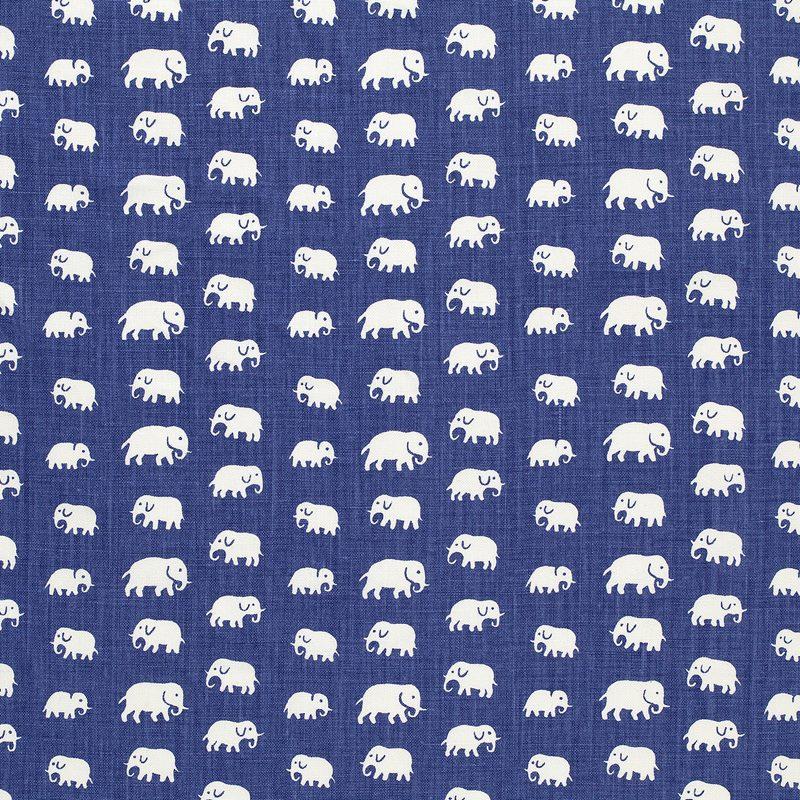 Textil Elefant - Lin, Elefant, Blå | Svenskt Tenn