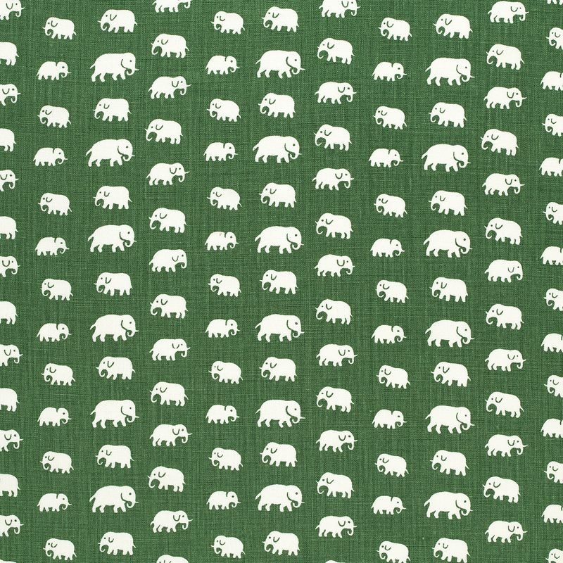 Textile Elefant - Cotton, Elefant, Green | Svenskt Tenn